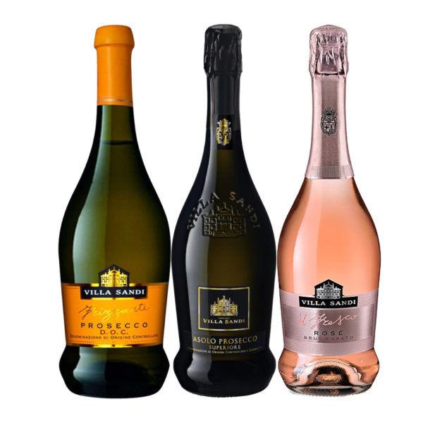 Prosecco Trio Wine Case: Prosecco Treviso, Rose and Superiore Villa Sandi
